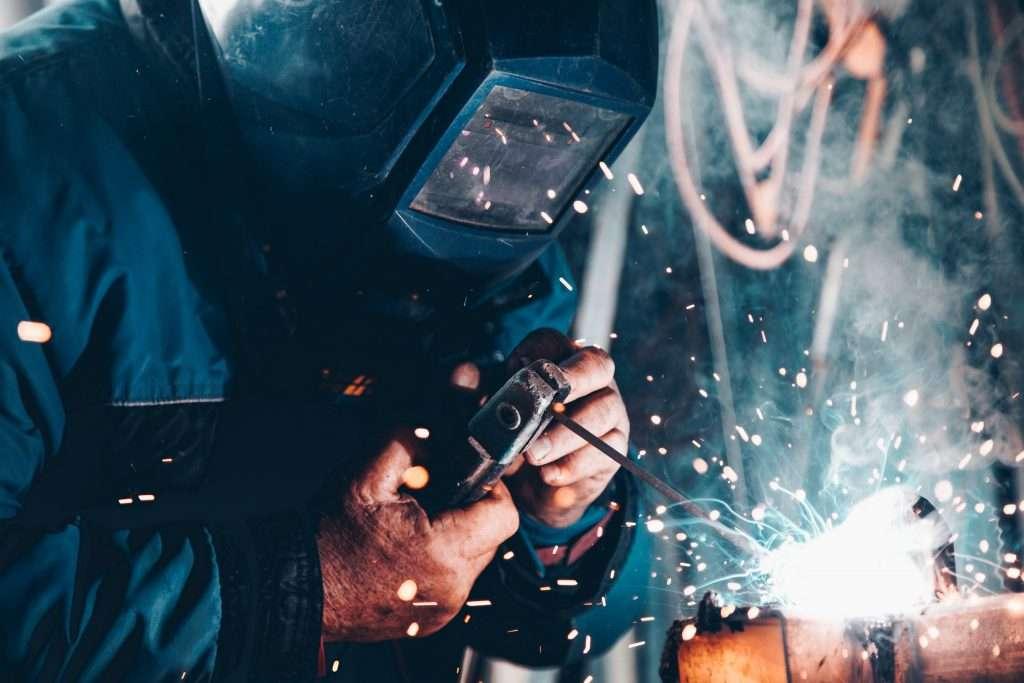 A worker in a steel factory