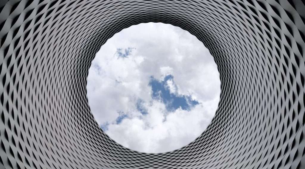 looking at the sky through a steel tube